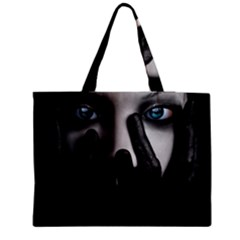 Black And White Medium Zipper Tote Bag