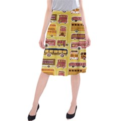 Bus Cartoons Logo Midi Beach Skirt