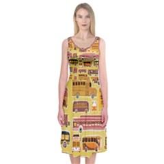 Bus Cartoons Logo Midi Sleeveless Dress