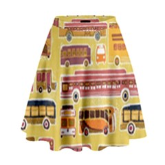 Bus Cartoons Logo High Waist Skirt
