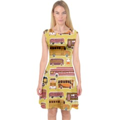 Bus Cartoons Logo Capsleeve Midi Dress