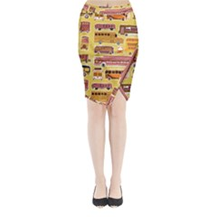Bus Cartoons Logo Midi Wrap Pencil Skirt