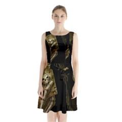 Cart A Sleeveless Chiffon Waist Tie Dress