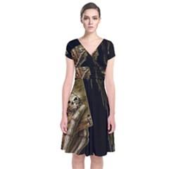 Cart A Short Sleeve Front Wrap Dress