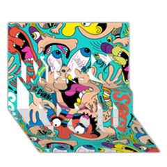 Cartoons Funny Face Patten Miss You 3D Greeting Card (7x5)