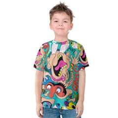 Cartoons Funny Face Patten Kids  Cotton Tee