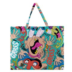 Cartoons Funny Face Patten Zipper Large Tote Bag