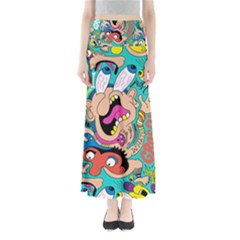 Cartoons Funny Face Patten Maxi Skirts