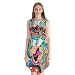 Cartoons Funny Face Patten Sleeveless Chiffon Dress