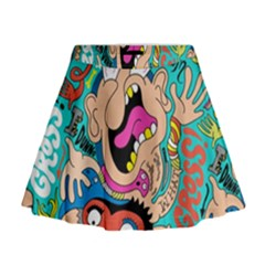 Cartoons Funny Face Patten Mini Flare Skirt