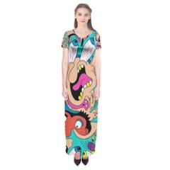 Cartoons Funny Face Patten Short Sleeve Maxi Dress