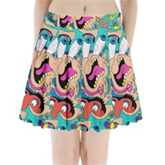 Cartoons Funny Face Patten Pleated Mini Skirt