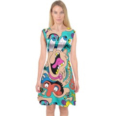 Cartoons Funny Face Patten Capsleeve Midi Dress