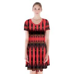 ANCIENT DIVIDE Short Sleeve V-neck Flare Dress