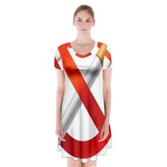 Cigarette Short Sleeve V Neck Flare Dress