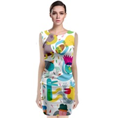 Colorful Cartoon Funny People Classic Sleeveless Midi Dress