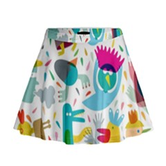 Colorful Cartoon Funny People Mini Flare Skirt
