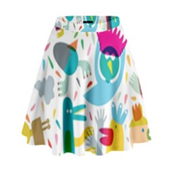 Colorful Cartoon Funny People High Waist Skirt