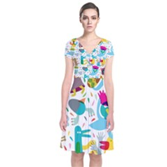 Colorful Cartoon Funny People Short Sleeve Front Wrap Dress
