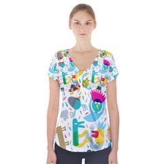 Colorful Cartoon Funny People Short Sleeve Front Detail Top
