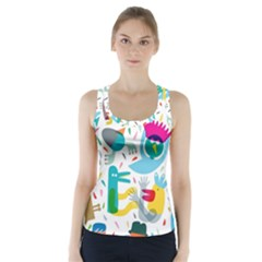 Colorful Cartoon Funny People Racer Back Sports Top