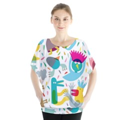 Colorful Cartoon Funny People Blouse