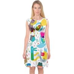 Colorful Cartoon Funny People Capsleeve Midi Dress