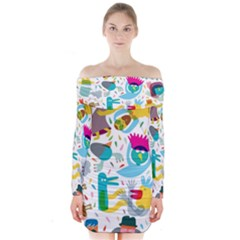 Colorful Cartoon Funny People Long Sleeve Off Shoulder Dress