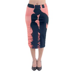 Couple In Love Beach Midi Pencil Skirt