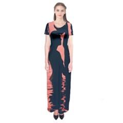 Couple In Love Beach Short Sleeve Maxi Dress