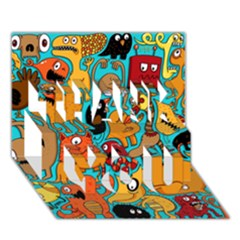 Creature Cluster Thank You 3d Greeting Card (7x5)