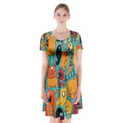Creature Cluster Short Sleeve V-neck Flare Dress
