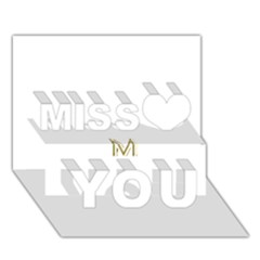 M Monogram Initial Letter M Golden Chic Stylish Typography Gold Miss You 3D Greeting Card (7x5)