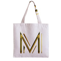 M Monogram Initial Letter M Golden Chic Stylish Typography Gold Zipper Grocery Tote Bag
