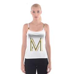 M Monogram Initial Letter M Golden Chic Stylish Typography Gold Spaghetti Strap Top
