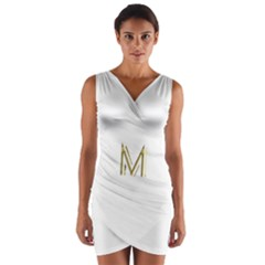 M Monogram Initial Letter M Golden Chic Stylish Typography Gold Wrap Front Bodycon Dress