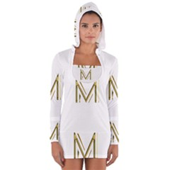 M Monogram Initial Letter M Golden Chic Stylish Typography Gold Women s Long Sleeve Hooded T-shirt