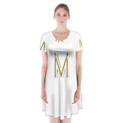 M Monogram Initial Letter M Golden Chic Stylish Typography Gold Short Sleeve V-neck Flare Dress