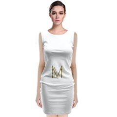 M Monogram Initial Letter M Golden Chic Stylish Typography Gold Classic Sleeveless Midi Dress