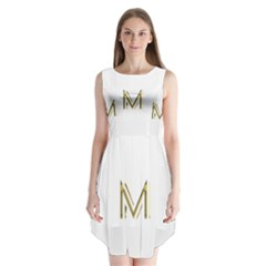 M Monogram Initial Letter M Golden Chic Stylish Typography Gold Sleeveless Chiffon Dress