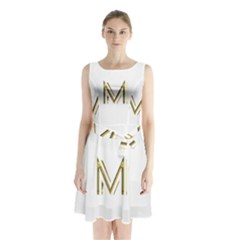 M Monogram Initial Letter M Golden Chic Stylish Typography Gold Sleeveless Chiffon Waist Tie Dress