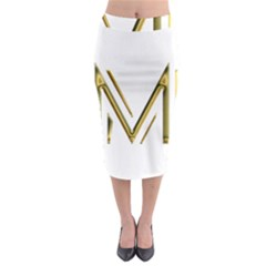M Monogram Initial Letter M Golden Chic Stylish Typography Gold Midi Pencil Skirt