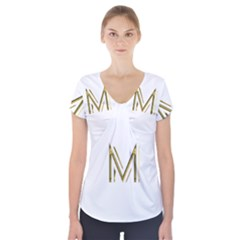 M Monogram Initial Letter M Golden Chic Stylish Typography Gold Short Sleeve Front Detail Top