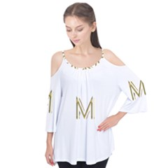 M Monogram Initial Letter M Golden Chic Stylish Typography Gold Flutter Tees