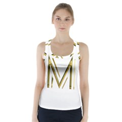 M Monogram Initial Letter M Golden Chic Stylish Typography Gold Racer Back Sports Top