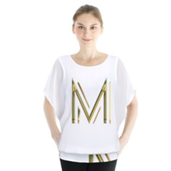 M Monogram Initial Letter M Golden Chic Stylish Typography Gold Blouse