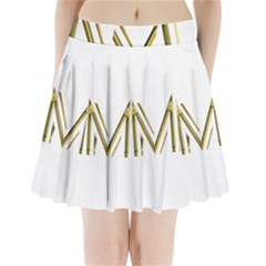 M Monogram Initial Letter M Golden Chic Stylish Typography Gold Pleated Mini Skirt