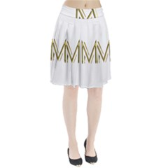 M Monogram Initial Letter M Golden Chic Stylish Typography Gold Pleated Skirt