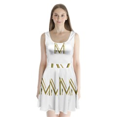 M Monogram Initial Letter M Golden Chic Stylish Typography Gold Split Back Mini Dress
