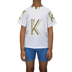 Monogrammed Monogram Initial Letter K Gold Chic Stylish Elegant Typography Kids  Short Sleeve Swimwear